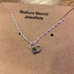 Sterling silver love necklace with Tsavorite